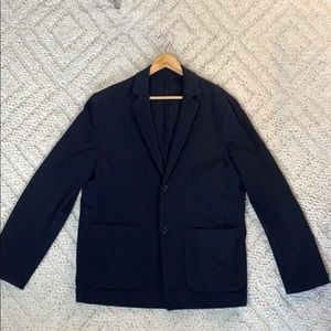 H&M Slim fit knit blazer in navy blue